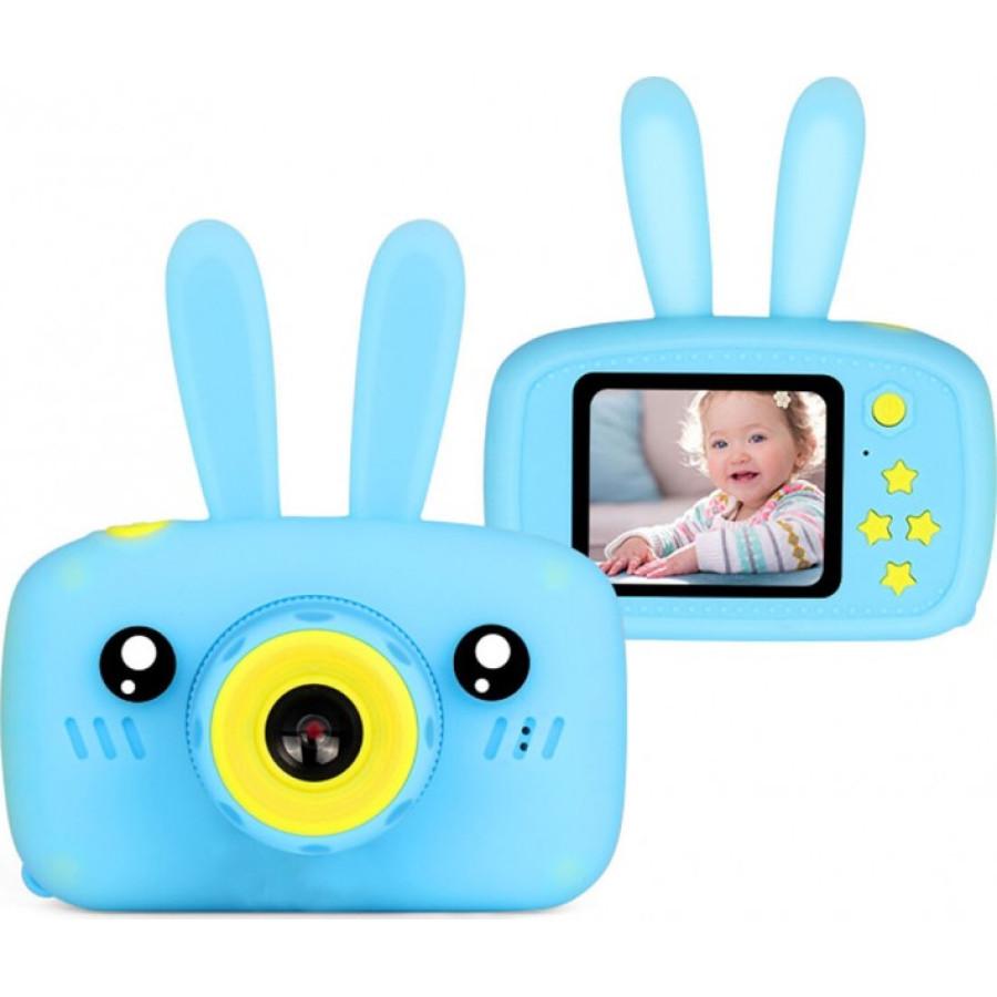 Детский цифровой фотоаппарат Childrens Fun Camera Rabbit голубого цвета