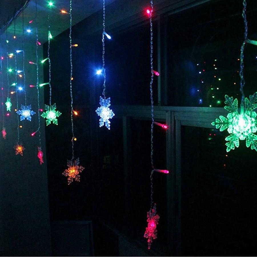 Новогодняя светодиодная гирлянда штора Снежинки 3х1м мультиколор