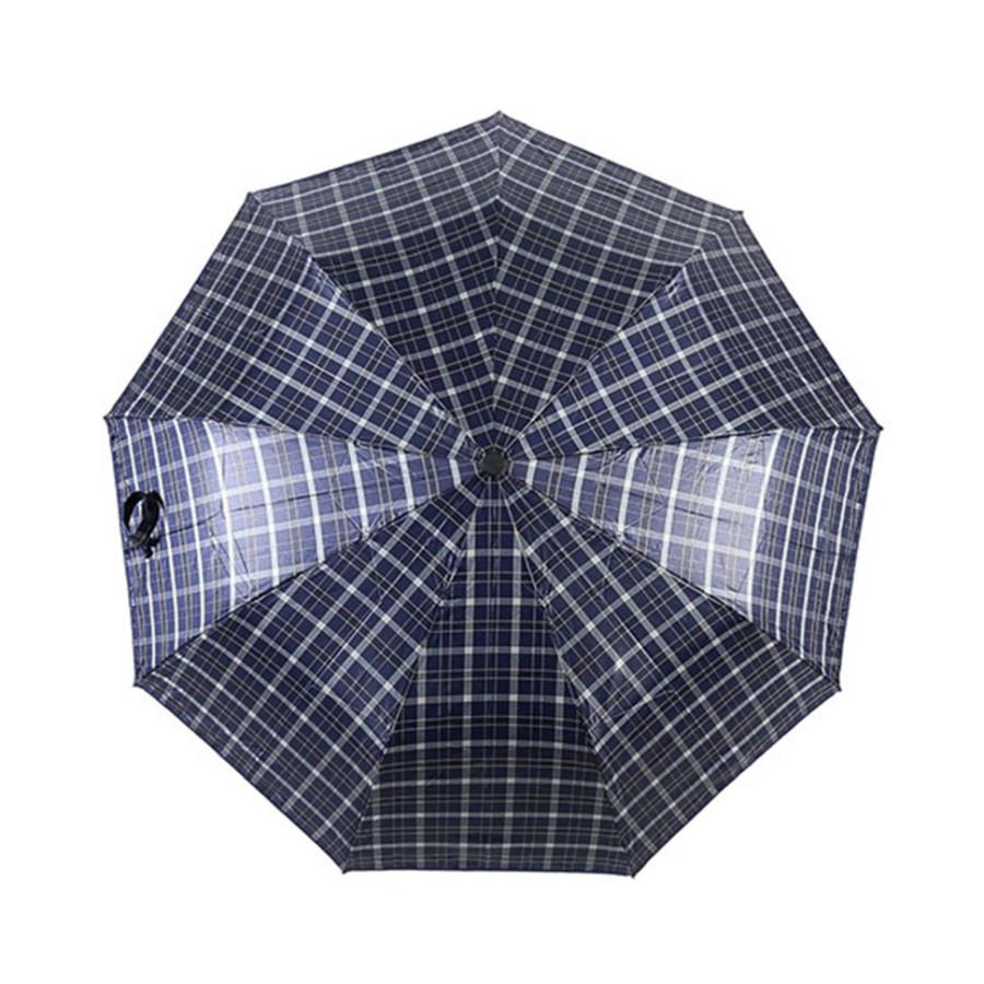 """Зонт мужской 3 сложения полуавтомат """"Клетка"""" диаметр купола 102 см 10 спиц"""