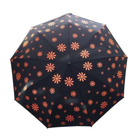 """Зонт женский 3 сложения автомат """"Черный купол с цветочками"""" диаметр купола 97 см 9 спиц"""