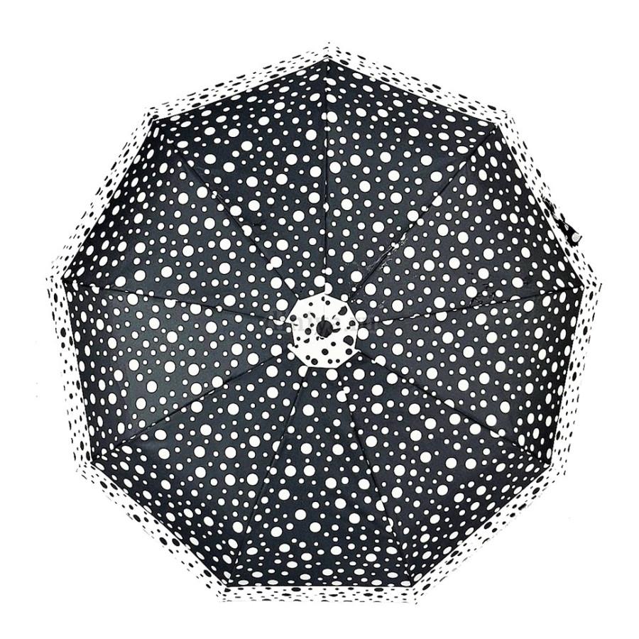 """Зонт женский 3 сложения автомат """"Горошек"""" диаметр купола 98 см 9 спиц"""
