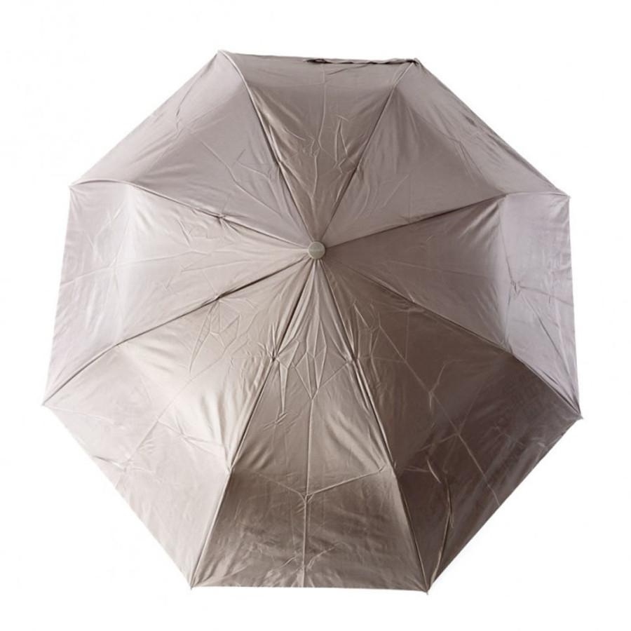 """Зонт женский 3 сложения полуавтомат """"Однотонные Серебро"""" полиэстер 8 спиц"""