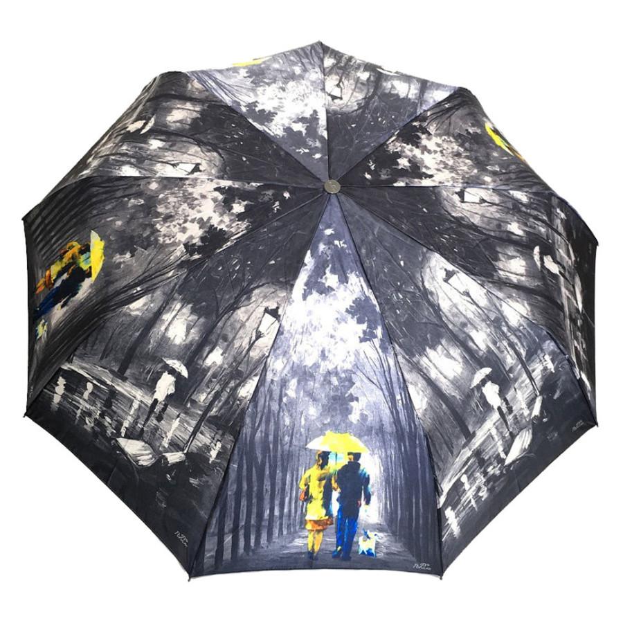 "Зонт женский 3 сложения автомат ""Времена года"" материал сатин 9 спиц"