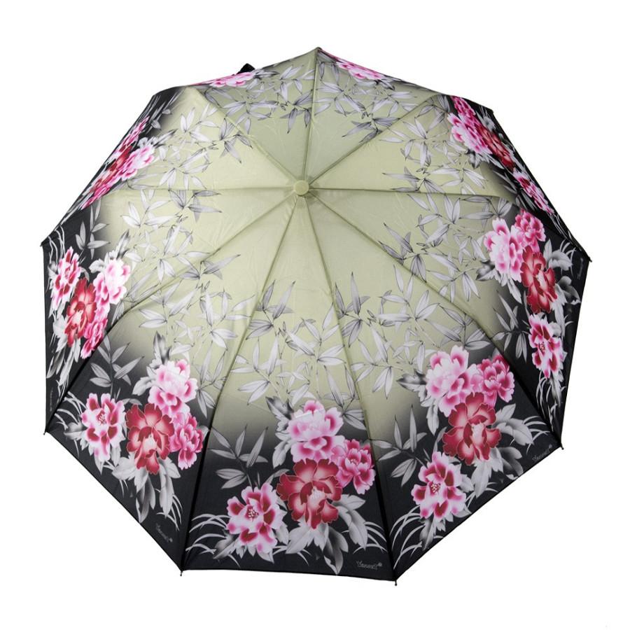"""Зонт женский 3 сложения полуавтомат """"Цветной"""" 9 спиц"""