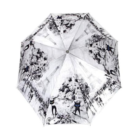 """Зонт женский 3 сложения автомат сатин """"Город серых цветов"""" диаметр купола 102 см 8 спиц"""