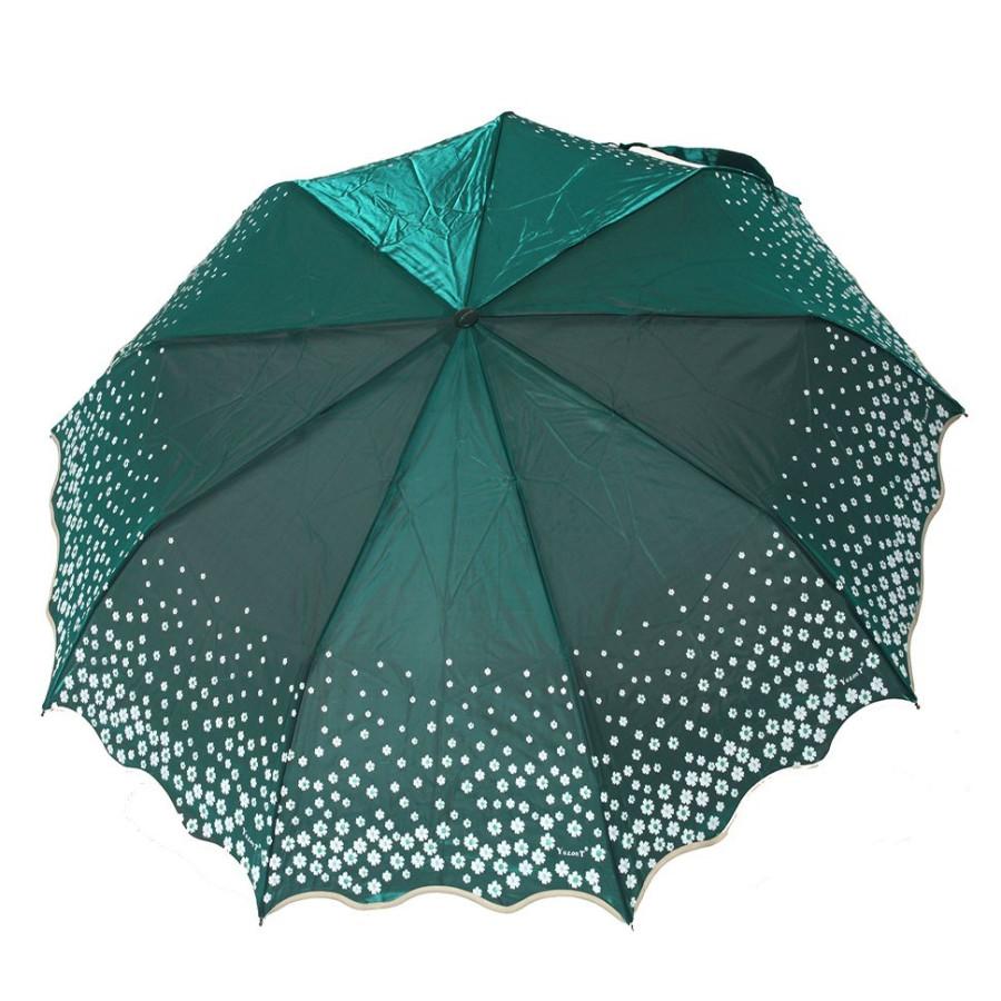 "Зонт женский 3 сложения автомат ""Хамелеон ромашка"" сатин диаметр купола 102 см  9 спиц"