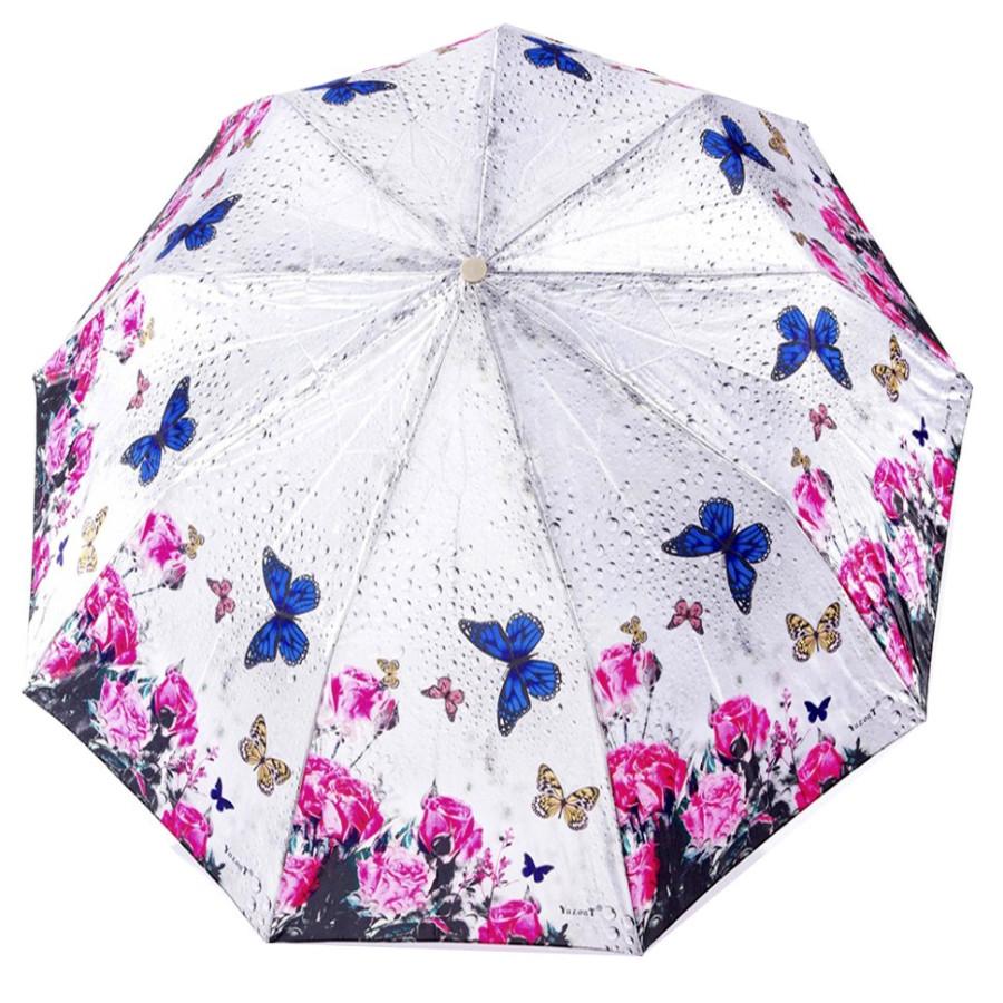 """Зонт женский 3 сложения полуавтомат """"Сатин цветной"""" диаметр купола 102 см 9 спиц"""