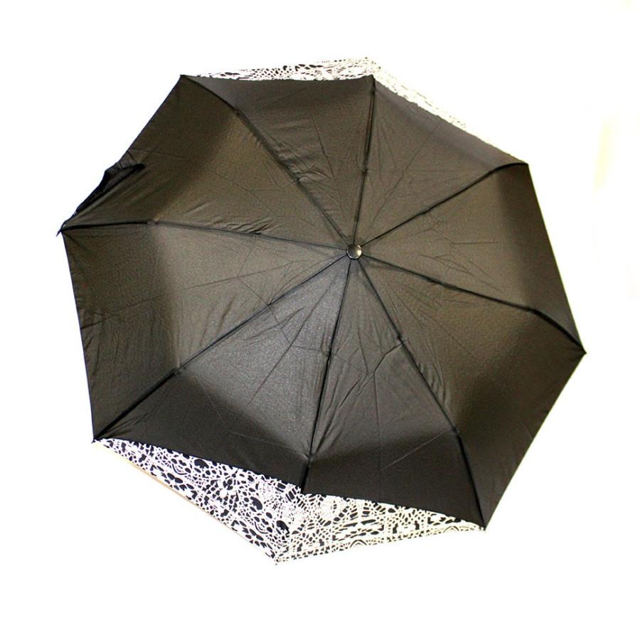 Зонт женский 3 сложения полуавтомат однотонный комбинированный с каймой 8 спиц