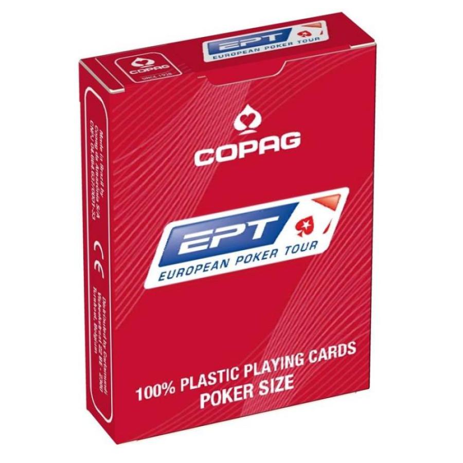 """Карты для покера """"Copag EPT"""" 100% пластик, Бельгия, красная рубашка"""