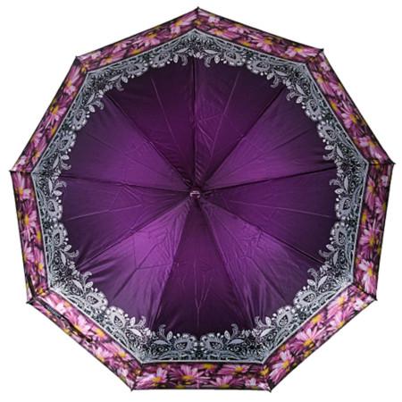 "Зонт женский 3 сложения полуавтомат ""Кайма"" сатин диаметр купола 107 см 9 спиц"