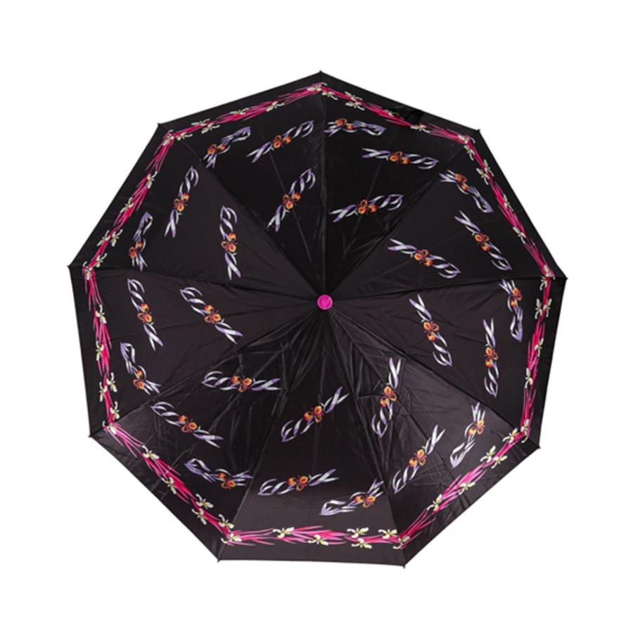 """Зонт женский 3 сложения автомат """"Узоры"""" диаметр купола 102 см 9 спиц"""