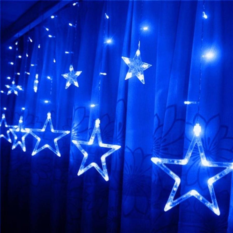 Новогодняя светодиодная гирлянда штора Звездочки 3х1м синий