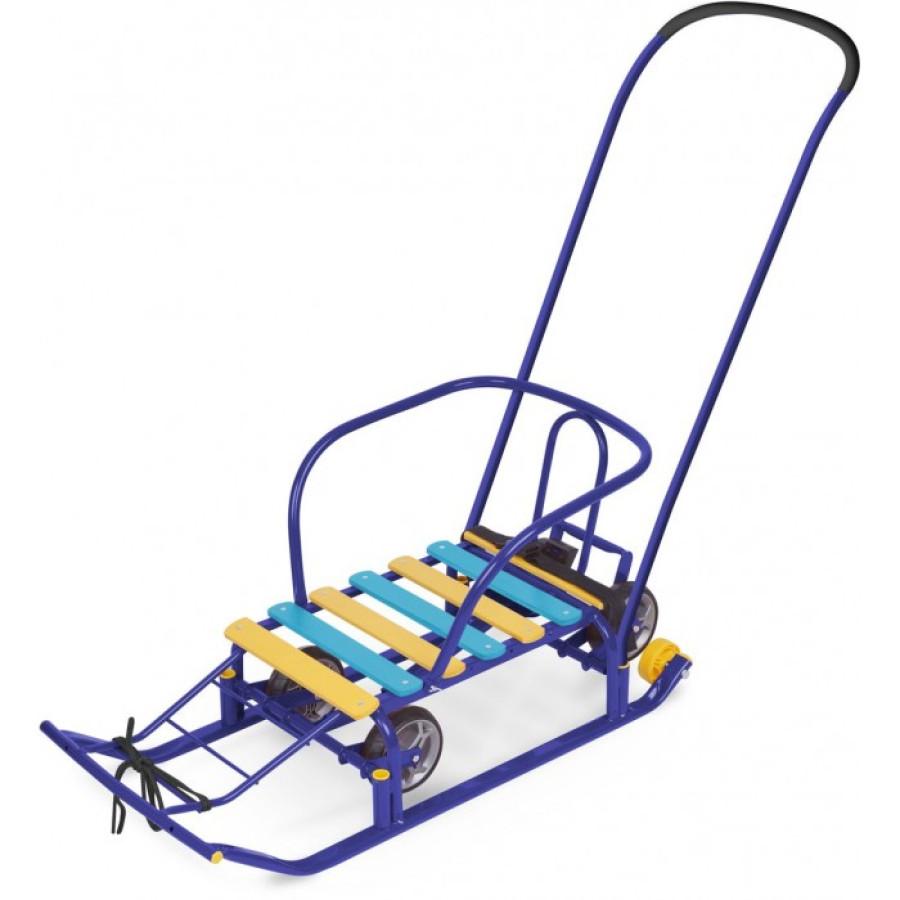 Санки Тимка 5 с выдвижными колёсиками Синие