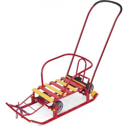 Санки Тимка 5 с выдвижными колёсиками Красные