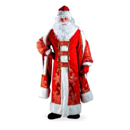 Карнавальный костюм для взрослого Дед Мороз жаккардовый красный