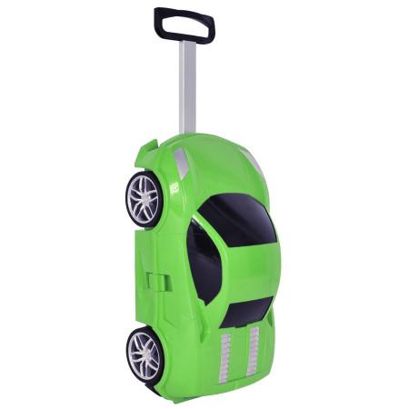 Детский чемодан машинка Ламба зеленый
